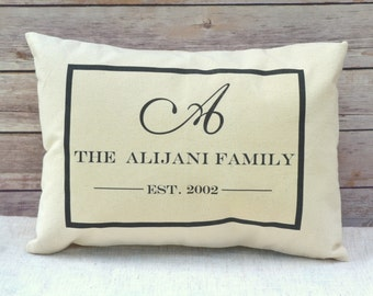 Mothers Day gift, Fathers Day gift, anniversary gift idea, Custom pillow, monogram, personalized, last name pillow, - Williams