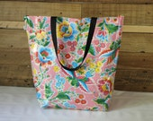 market bag - beach bag - tote bag - waterproof beach bag - pool bag - reversible bag - oilcloth bag - gifts for her - teacher gifts