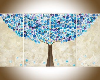 "Contemporary wall art Blue Purple Abstract tree Painting Large canvas painting Wall Art wall decor Modern art""Blueberry Tree"" by qiqigallery"