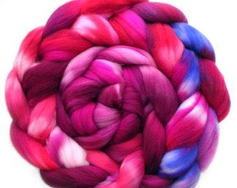 Roving Targhee Superwash Hand dyed Combed Top - Hanging Basket Fuchsias, 6.5 oz.