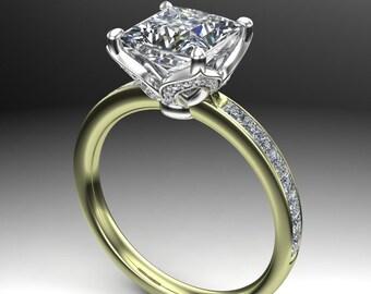 2 Carat Princess Cut Diamond Engagement Ring, Two Tone Green Gold