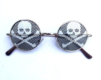 skull and crossbones pirate  graphic John lennon hippie style round sunglasses.