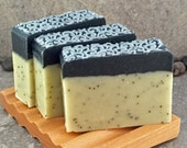 Lemongrass Sage Poppyseed Handcrafted Soap with Lace Decorative Top