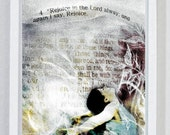 Rejoice, Praise God, Worship, God Inspired, Scriptures, Religious Gift, Bible Art, Christian Wall Art, Digital Collage Art, Purple, Jesus
