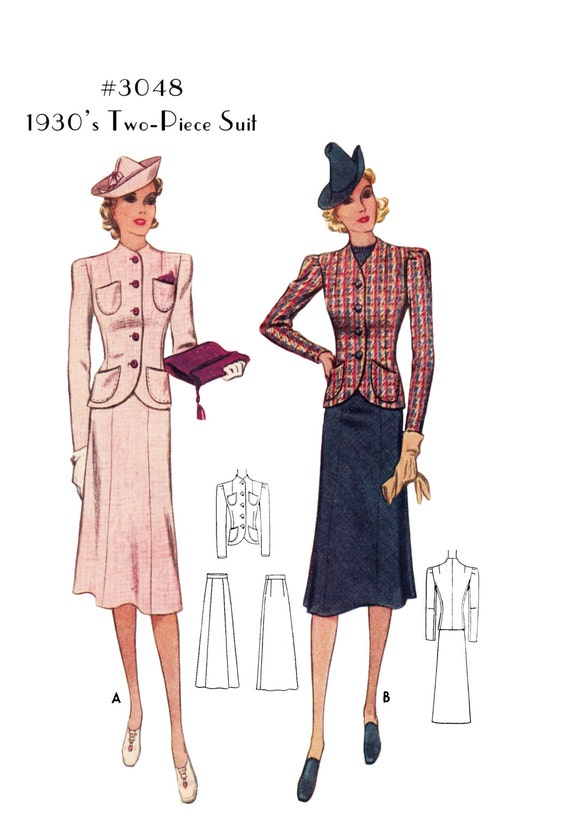 1930s Dresses, Clothing & Patterns Links Reproduction Ladies 1930s Two-Piece Suit #3048 -INSTANT DOWNLOAD PDF $8.50 AT vintagedancer.com