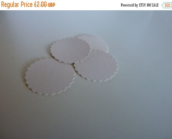SUMMER SALE Circle sticker envelope seals - china white with scalloped edges