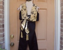 Genie costume, Rajah costume, Aladdin costume, four piece--vest, pants, sash, hairpiece, also good for The King and I
