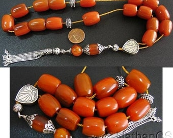 Greek Komboloi Worry Beads  Butterscotch Amber Color Faturan  and Sterling Silver- Unique - Collector's