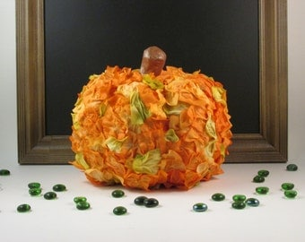 Fall Pumpkin Decorated with Faux Flower Petals Fall Decor Thanksgiving Centerpiece Hostess Gift Fall Wedding Decor