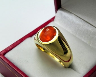 AAAA Mexican Opal Cabochon   9x7mm  1.07 Carats   in  Heavy 18K Yellow gold MAN'S ring 20 grams. 2525