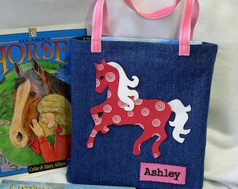 Kids Horse Tote bag|Personalized Tote Bag|Kids Trick or Treat Bag|Gift for Grandkids|Birthday Party Gift|Preschool Book Bag|Toddler Book Bag