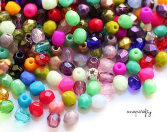 50pc MIX assorted 3mm firepolish czech glass beads / faceted fire polish bead sampler grab bag / assorted colors small glass bead mix