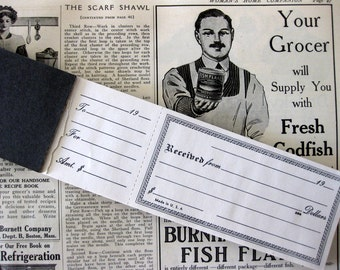 Vintage Money Receipts Book, 54 Unused, Blank Receipts