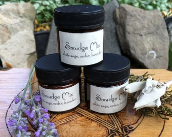 Smudge Mix White Sage, Cedar and Lavender Sampler Size .85 oz Amber Jar