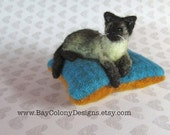 MADE TO ORDER one Sleeping Kitty Pincushion your choice of kitty color (7815)