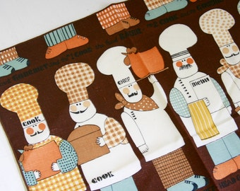 Set of three cloth napkins cook chef brown and blue