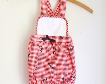 Vintage fodder girls romper summer sun suit red and white cows 18 months