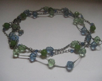 Three Strand Caged Beads Necklace in Blue and Green Silver Chain