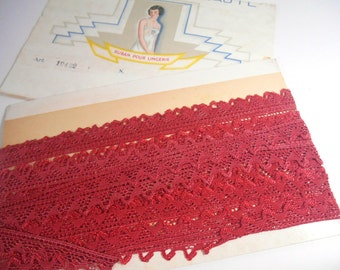 Reel of Vintage Art Deco Lace in Red/Russet