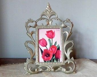 Vintage Ornate solid brass easel frame art nouveau style holds 4 x 6 photo or artwork sits on easel back