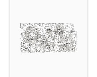 Kansas> Wild Sunflower> State Flower Drawing> Giclee Print