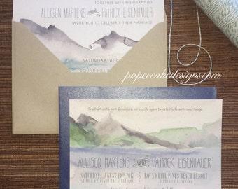 Watercolor Mountain Lake Invitation / Digital DIY Printable PDF / Wedding Anniversary Birthday Party
