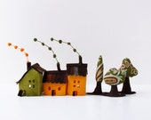 Felt house ornament, Houses and trees. Miniature , Orange and green shades.