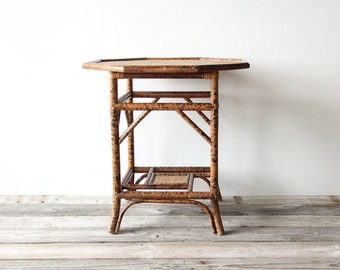Tiger Stripe Bamboo Side Table