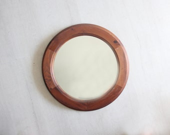 Handmade Wood Round Mirror