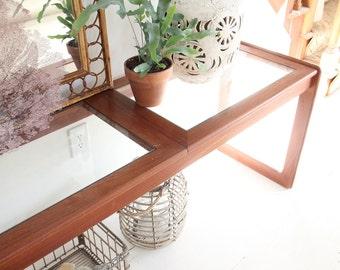 Solid Teak & Glass Console / Sofa Table
