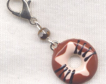 Glazed Donut Stitch Marker Clip Chocolate Crispy Creme Enameled Single /SM05D
