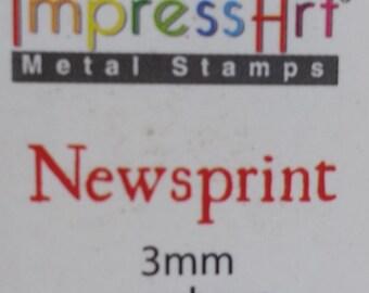 Basic Newsprint Number Stamping Set, 3mm Number Stamping Set, Metal Stamping, SCE1116-3mm, Carbon Steel Stamp Set