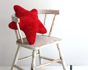 Baby Starfish Pillow Handmade from Super Soft Plush Fabric Red