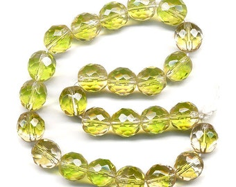 Vintage Bicolor Beads 8mm Glass Bright Green & Pale Peach Faceted Round Made in W.G.