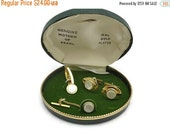 SALE Mother of Pearl Cufflinks - Original Box, 18k Gold Plate, Cuff Links & Tie Clip Set