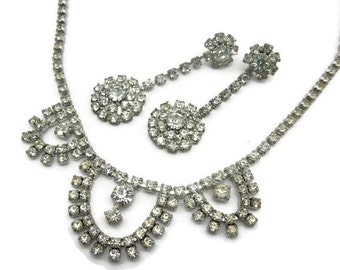 Rhinestone Necklace and Earring Set - Bridal, Wedding Costume Jewelry, Clear Stones, Pierced
