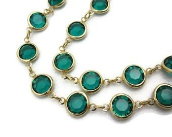 Glass Gem Necklace - Vintage Bezel Set, Green