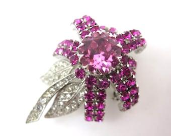 Rhinestone Flower Brooch - Pink Daisy Schoffel & Co Austria