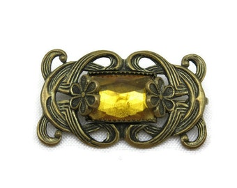 Antique Brooch - Brass Amber Yellow Vauxhall Glass, Art Nouveau