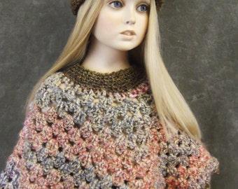 Toddler Poncho Set,Children's Clothing,Poncho,Girls Clothing,Crochet Poncho,Crochet Hat,Toddler Hats,Pink Poncho,Brown Poncho,Crochet Flower