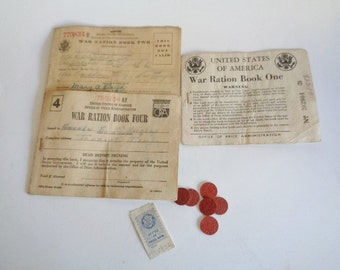 Original WWII War Ration Books with Tokens
