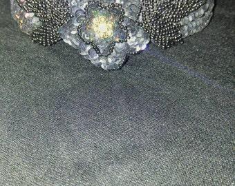 20's style Black Beaded Sequin Flapper Tiara Headband