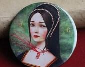 ON SALE Anne Boleyn pocket mirror - Ann Boleyn mirror, 3-inch pocket mirror, tudor accessories, history geek gift - by Meluseena