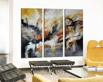 Abstract Painting, grey white, Black abstract, Large Earth tones art, Black Orange painting, black and white painting, white painting