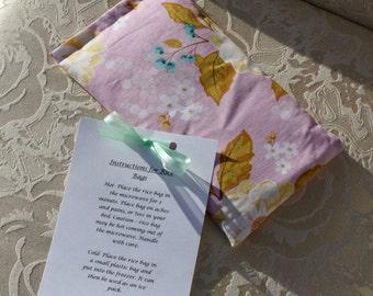 Floral Rice Bag, Heating Pad, Therapeutic Rice Bag, Promenade, Small, Purple, Flowers, Girl
