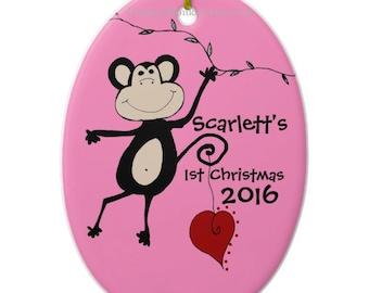 Custom monkey ornament ceramic oval personalized Christmas ornament girls boys baby's first Christmas Yule holidays