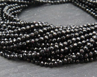"Black Spinel Rondelles, AAA, Faceted, 2mm - 13"" Strand (CG8243E)"