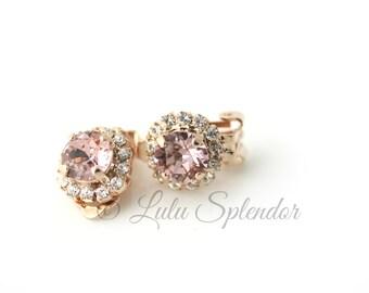 Clip On Earrings Blush Crystal Earrings Rose Gold Stud Earrings Vintage Rose Crystal Bridal Earrings Soft Pink Bridesmaid Stud Earrings STUD