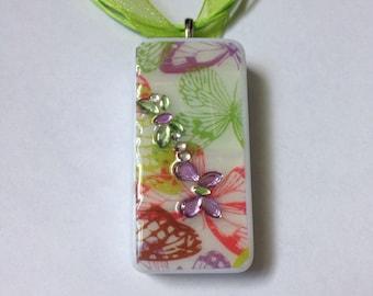 Green and Purple Butterflies Handmade Domino Pendant Light Green Ribbon Adjustable Necklace Birthday Gift Teacher Gift
