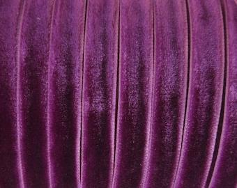 3 Yards Plum Purple Velvet Ribbon Trim 1/4 Inch Wide